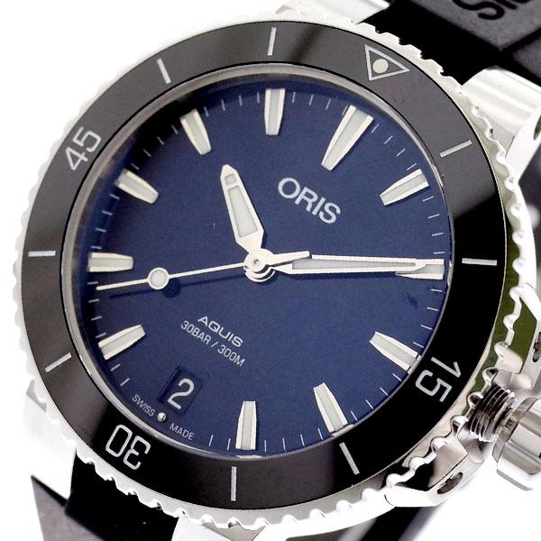 オリス ORIS 腕時計 レディース 73377314135R AQUIS 自動巻き ネイビー ブラック ネイビー【送料無料】