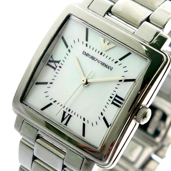 エンポリオアルマーニ EMPORIO ARMANI 腕時計 レディース AR11065 MODERN SQUARE クォーツ ホワイトシェル シルバー シルバー【送料無料】