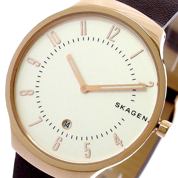 スカーゲン SKAGEN 腕時計 メンズ レディース SKW6458 GRENEN クォーツ ホワイト ダークブラン ダークブラウン【送料無料】