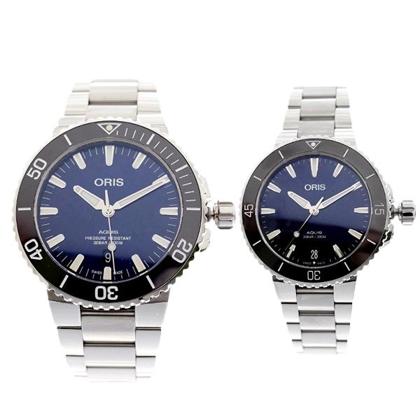 ペアウォッチ オリス ORIS 腕時計 メンズ レディース 73377304135M 73377314135M AQUIS 自動巻き ネイビー シルバー【送料無料】