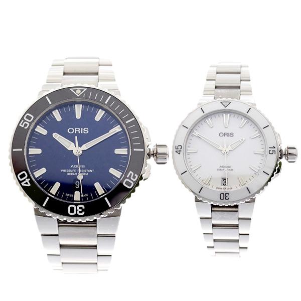 ペアウォッチ オリス ORIS 腕時計 メンズ レディース 73377304135M 73377314151M AQUIS 自動巻き ネイビー ホワイト【送料無料】