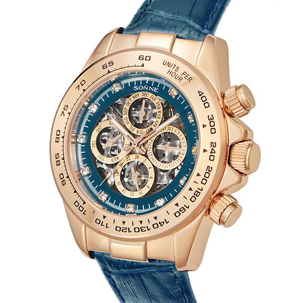 ゾンネ SONNE 自動巻き メンズ 腕時計 S159PG-NV ネイビー【送料無料】