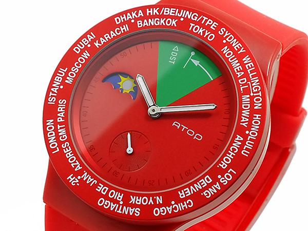 エイトップ ATOP ワールドタイム 腕時計 時計 VWA 05 レッドJuTcl5K1F3