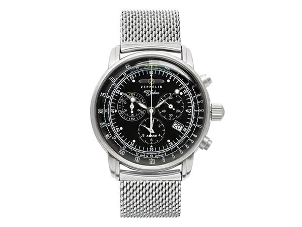 ツェッペリン ZEPPELIN 100周年 クォーツ メンズ クロノ 腕時計 7680M-2 BK【送料無料】