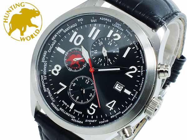 ハンティングワールド HUNTING WORLD タイムハンター クオーツ メンズ 腕時計 時計 替えベルト付 HW404BK【ポイント10倍】