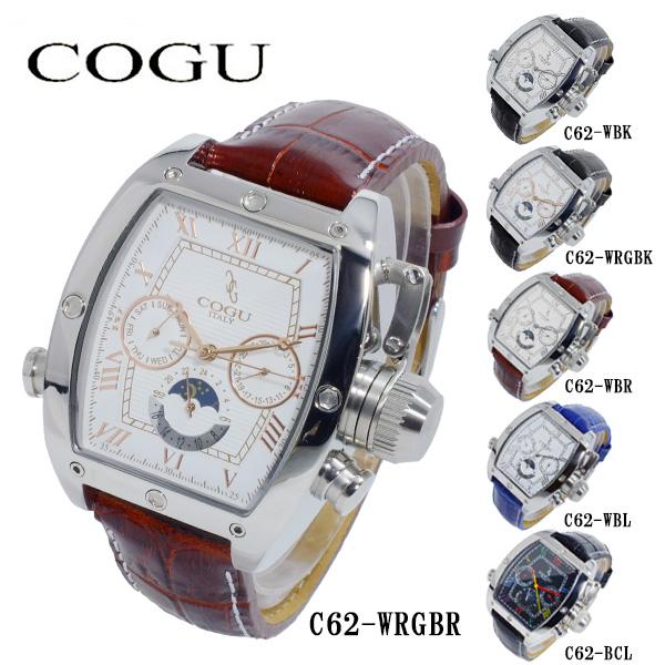 コグ COGU 自動巻き メンズ 腕時計 時計 C62-WRGBR ホワイト-ローズゴールド/ブラウン