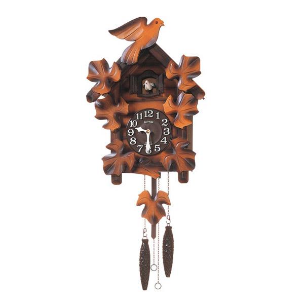 リズム RHYTHM 鳩時計 カッコーメイソンR 4MJ234RH06 濃茶ボカシ木地仕上