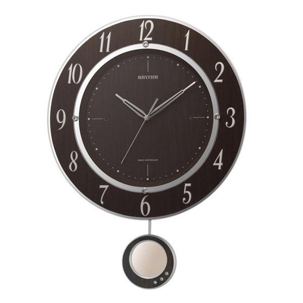 リズム RHYTHM 掛け時計 トライメテオDX 電波時計 8MX403SR23 茶色木目仕上