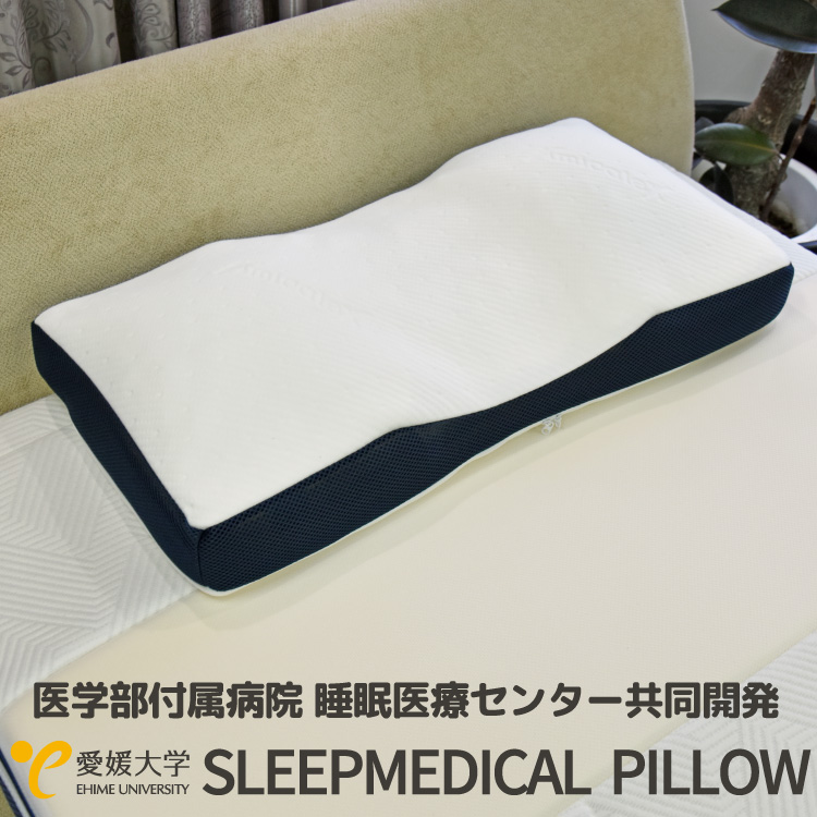 睡眠医療センター アンミンピロー 共同開発 SLEEPMEDICAL PILLOW スリープメディカル ピロー 枕 パイプ枕 ネイビー 洗濯OK(代引不可)【送料無料】