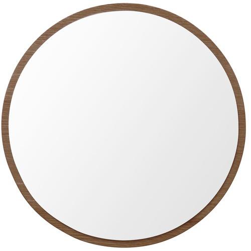 塩川光明堂 国産 ウォールミラー ハビット まる BR ブラウン ミラー 鏡(代引不可)【送料無料】