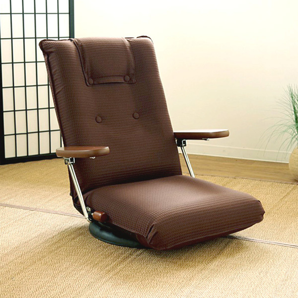ポンプ肘式回転座椅子 UGUISU(うぐいす) 日本製 座椅子 肘付き 13段階リクライニング 360度回転 座椅子 いす フロアチェア(代引不可)【送料無料】