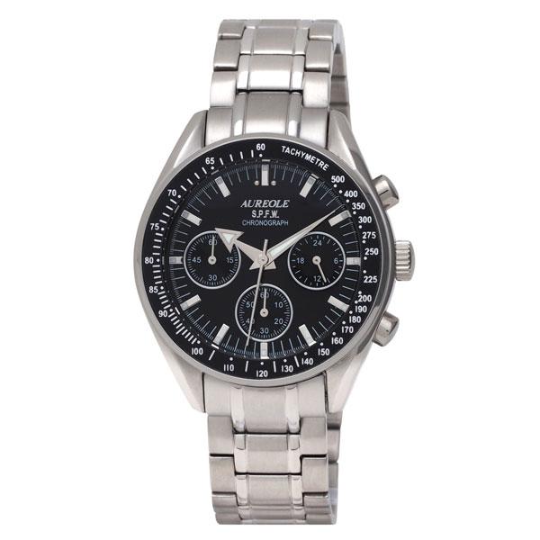 【AUREOLE】オレオール メンズ腕時計 SW-582M-1 アナログ表示 クロノグラフ 24時間表示付 10気圧防水 /1点入り(代引き不可)