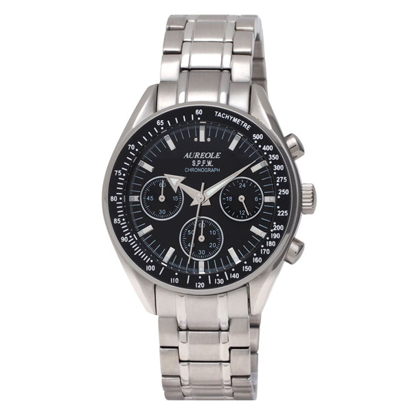 【AUREOLE】オレオール メンズ腕時計 SW-582M-1 アナログ表示 クロノグラフ 24時間表示付 10気圧防水 /5点入り(代引き不可)