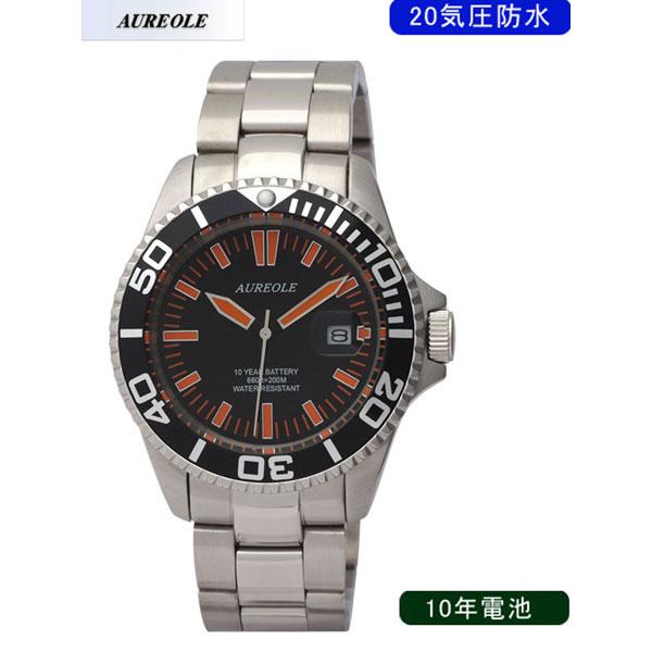 【AUREOLE】オレオール メンズ腕時計 SW-416M-A1 アナログ表示 10年電池 20気圧防水 /1点入り(代引き不可)