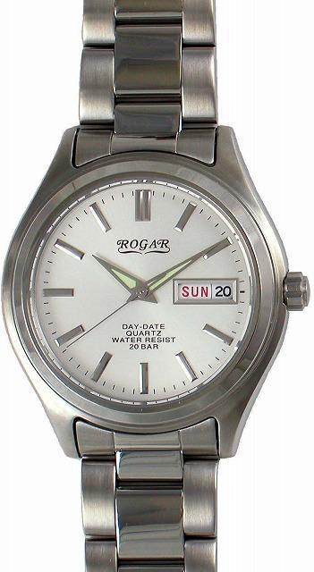 【ROGAR】ローガル メンズ腕時計 RO-026M-WH 20気圧防水(日本製) /1点入り(代引き不可)