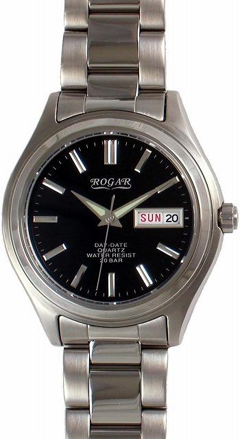 【ROGAR】ローガル メンズ腕時計 RO-026M-BK 20気圧防水(日本製) /10点入り(代引き不可)