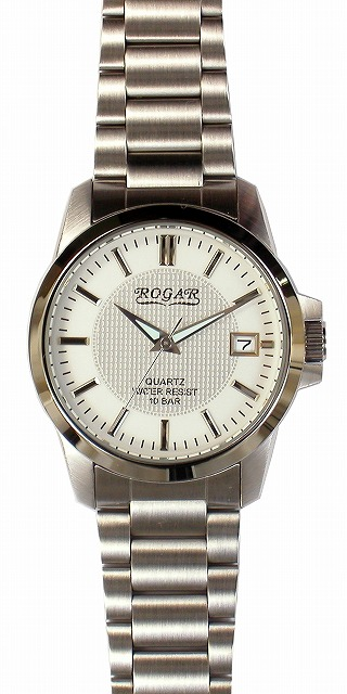 【ROGAR】ローガル メンズ腕時計 RO-059M-WH 10気圧防水(日本製) /5点入り(代引き不可)