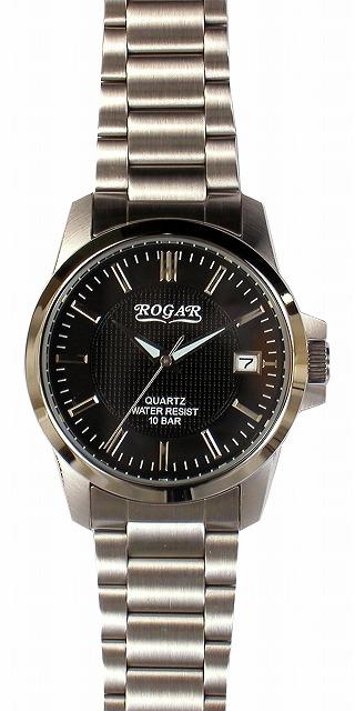 【ROGAR】ローガル メンズ腕時計 RO-059M-BK 10気圧防水(日本製) /1点入り(代引き不可)