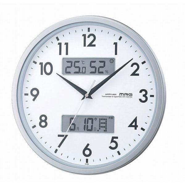 温湿計付電波掛時計 W-590 エアダブル /5点入り(代引き不可)