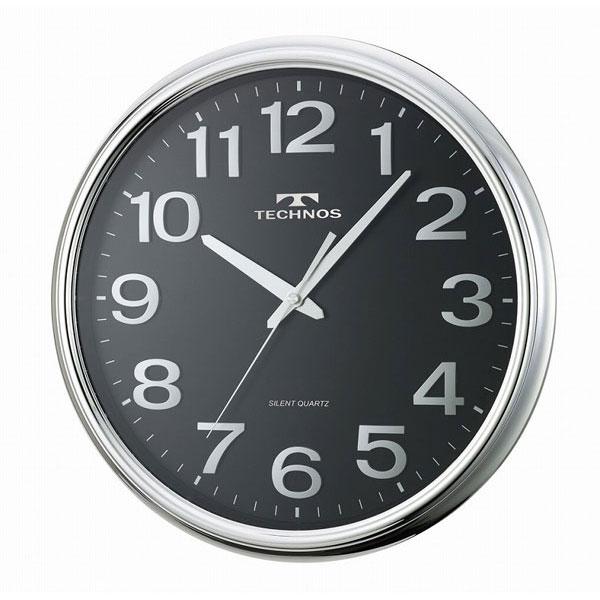 【TECHNOS】国内版権 テクノス 掛時計 W-547 ブラック/5点入り(代引き不可)