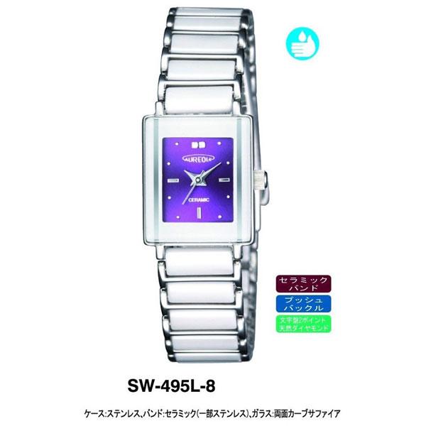 【AUREOLE】オレオール レディース腕時計 SW-495L-8 アナログ表示 天然ダイヤ2P セラミック 日常生活用防水 /5点入り(代引き不可)