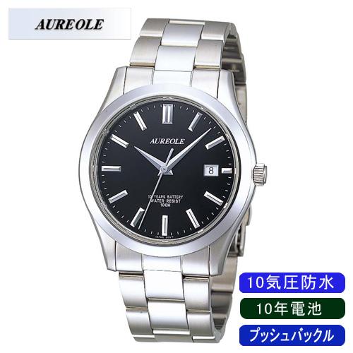 【AUREOLE】オレオール メンズ腕時計 SW-409M-1 アナログ表示 日常生活用防水 10年電池 10気圧防水 /5点入り(代引き不可)