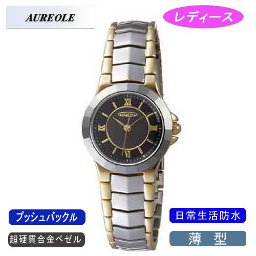 【AUREOLE】オレオール レディース腕時計 SW-457L-1 アナログ表示 薄型 超硬質合金ベゼル 日常生活用防水 /5点入り(代引き不可)