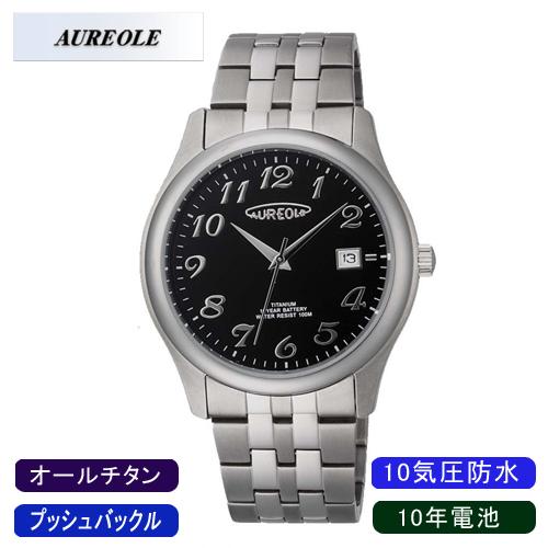 【AUREOLE】オレオール メンズ腕時計 SW-483M-1 アナログ表示 10年電池 オールチタン 10気圧防水 /10点入り(代引き不可)