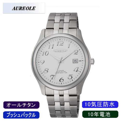 【AUREOLE】オレオール メンズ腕時計 SW-483M-3 アナログ表示 10年電池 オールチタン 10気圧防水 /5点入り(代引き不可)