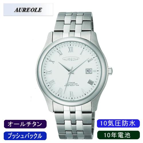 【AUREOLE】オレオール メンズ腕時計 SW-483M-6 アナログ表示 10年電池 オールチタン 10気圧防水 /1点入り(代引き不可)