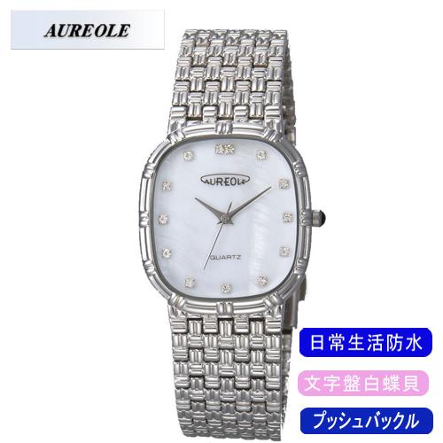 【AUREOLE】オレオール メンズ腕時計 SW-475M-3 アナログ表示 文字盤白蝶貝 日常生活用防水 /1点入り(代引き不可)