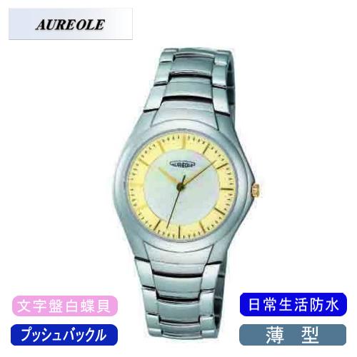 【AUREOLE】オレオール メンズ腕時計 SW-437M-2 アナログ表示 薄型 文字盤白蝶貝 日常生活用防水 /5点入り(代引き不可)