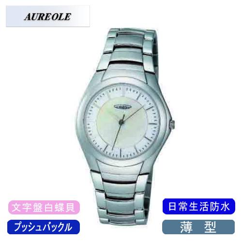 【AUREOLE】オレオール メンズ腕時計 SW-437M-3 アナログ表示 薄型 文字盤白蝶貝 日常生活用防水 /5点入り(代引き不可)