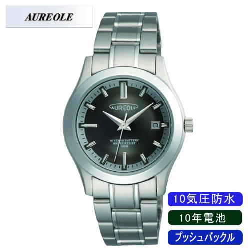 【AUREOLE】オレオール メンズ腕時計 SW-490M-1 アナログ表示 10年電池 10気圧防水 /5点入り(代引き不可)