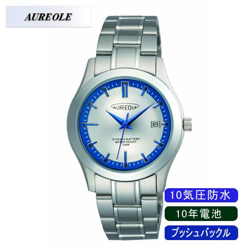 【AUREOLE】オレオール メンズ腕時計 SW-490M-3 アナログ表示 10年電池 10気圧防水 /10点入り(代引き不可)