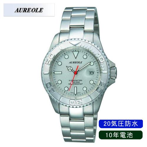 【AUREOLE】オレオール メンズ腕時計 SW-416M-6 アナログ表示 10年電池 20気圧防水 /10点入り(代引き不可)