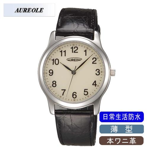 【AUREOLE】オレオール メンズ腕時計 SW-467M-4 アナログ表示 薄型 本ワニ革 日常生活用防水 /1点入り(代引き不可)
