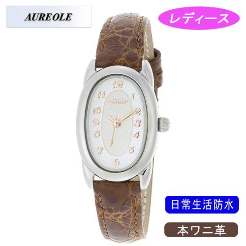 【AUREOLE】オレオール レディース腕時計 SW-487L-2 アナログ表示 本ワニ革 日常生活用防水 /1点入り(代引き不可)