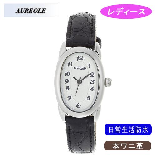 【AUREOLE】オレオール レディース腕時計 SW-487L-3 アナログ表示 本ワニ革 日常生活用防水 /5点入り(代引き不可)