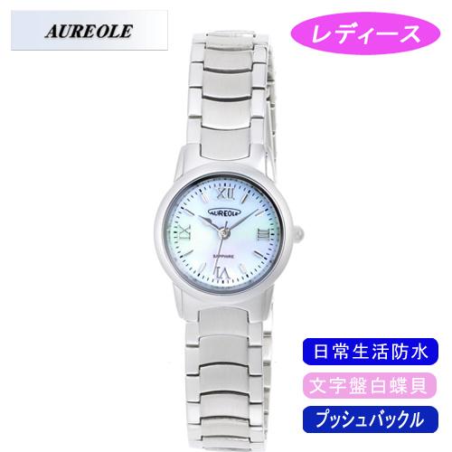 【AUREOLE】オレオール レディース腕時計 SW-484L-5 アナログ表示 文字盤白蝶貝 日常生活用防水 /5点入り(代引き不可)