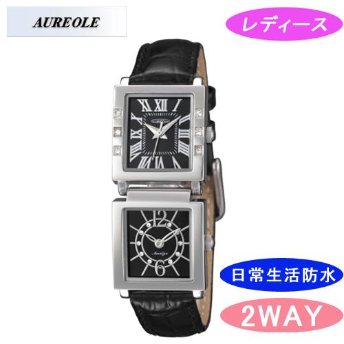 【AUREOLE】オレオール レディース腕時計 SW-570L-1 アナログ表示 ツインフェイス 日常生活用防水 /5点入り(代引き不可)