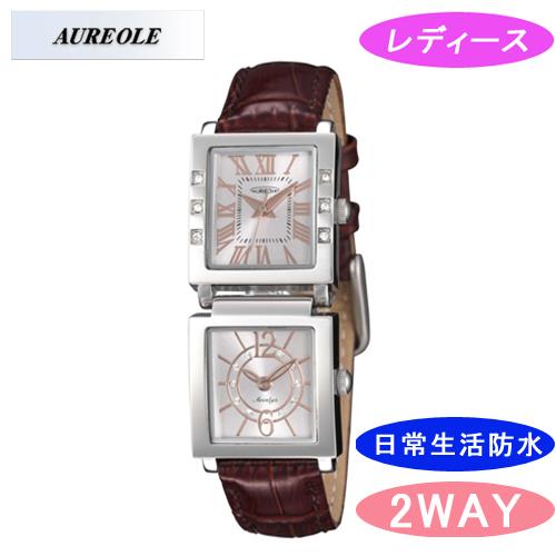 【AUREOLE】オレオール レディース腕時計 SW-570L-3 アナログ表示 ツインフェイス 日常生活用防水 /5点入り(代引き不可)