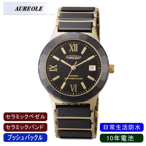 【AUREOLE】オレオール メンズ腕時計 SW-481M-2 アナログ表示 セラミック 10年電池 日常生活用防水 /5点入り(代引き不可)