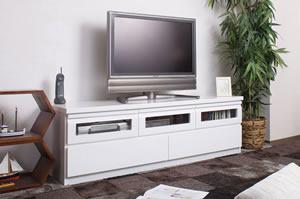 TVボード 艶ありホワイト 幅150cm TE-0002 日本製 完成品【送料無料】