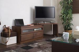 天然木テレビボード回転盤付 101cm幅 ダークブラウン色【送料無料】【日本製】【完成品】