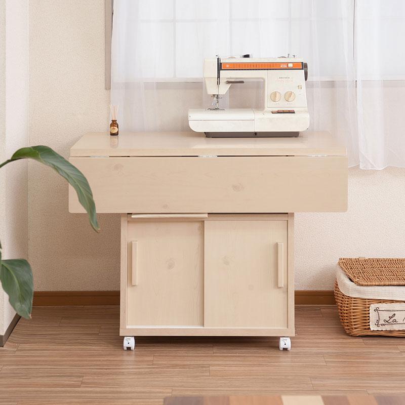 バタフライカウンターテーブル 幅89.5cm ホワイトウォッシュ 両バタ テーブル キッチン カウンター ダイニング 作業台 机(代引不可)【送料無料】