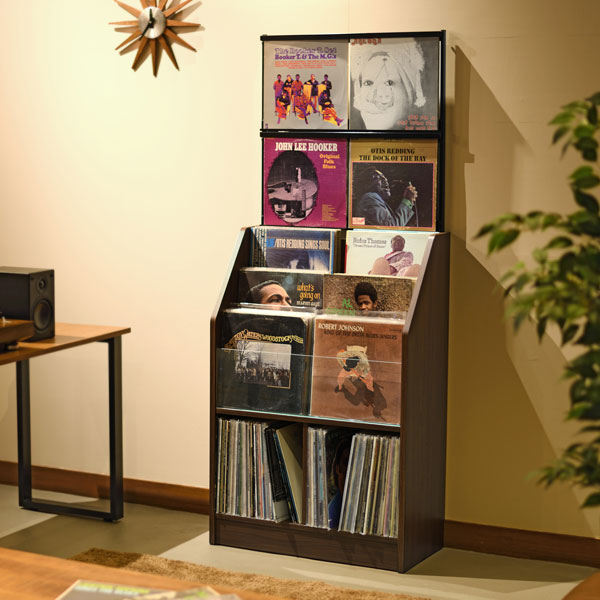 【送料無料】お気に入りのレコードジャケットをディスプレイしながら収納 総収納量は約280枚 レコードディスプレイラック 木目ダーク(代引不可)【送料無料】