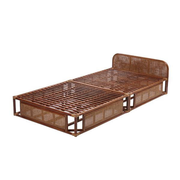 ラタン ベッドフレーム シングル 籐家具 インテリア ベッドフレーム すのこベッド シングルベッド 布団 ふとん 籐 寝室 和室(代引不可)【送料無料】