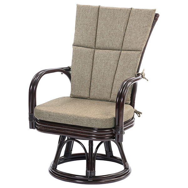 ラタン ゆったり回転チェア 籐家具 籐椅子 チェア 回転椅子 イス 椅子 チェア 座椅子 一人掛け 1人掛け 籐 クッション(代引不可)【送料無料】