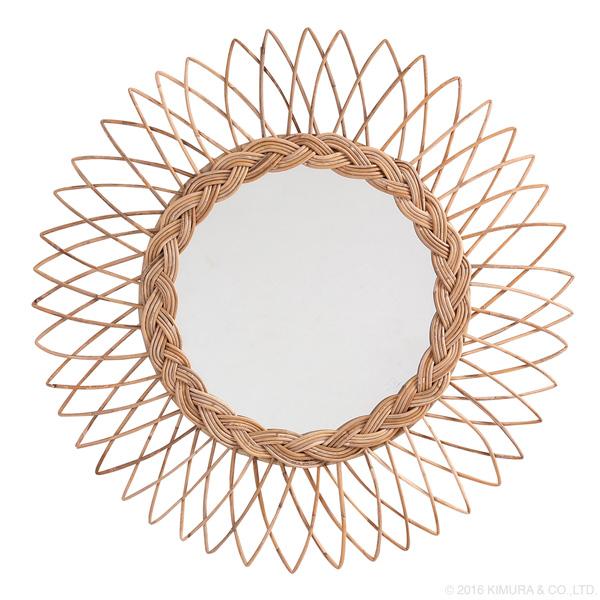 ラタン サンミラー 太陽型 径60cm 雑貨 小物 サンミラー 太陽 鏡 壁掛け インテリア 籐 アジアン 手作り 可愛い(代引不可)【送料無料】